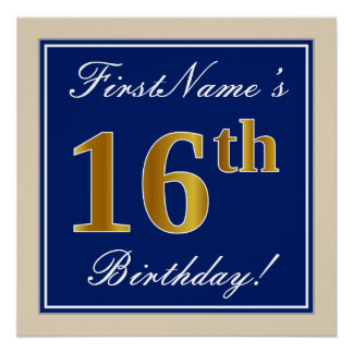 Elegant, Blue, Faux Gold 16th Birthday + Name Poster