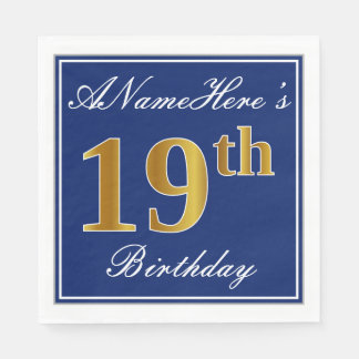 Elegant Blue, Faux Gold 19th Birthday; Custom Name Paper Napkins