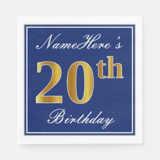 Elegant Blue, Faux Gold 20th Birthday; Custom Name Paper Napkin