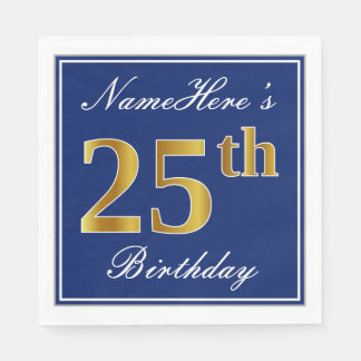 Elegant Blue, Faux Gold 25th Birthday; Custom Name Disposable Napkin