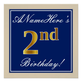 Elegant, Blue, Faux Gold 2nd Birthday; Custom Name Poster