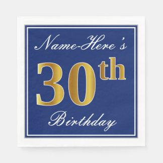 Elegant Blue, Faux Gold 30th Birthday; Custom Name Paper Napkin