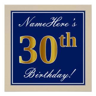 Elegant, Blue, Faux Gold 30th Birthday + Name Poster