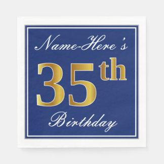 Elegant Blue, Faux Gold 35th Birthday; Custom Name Disposable Napkins