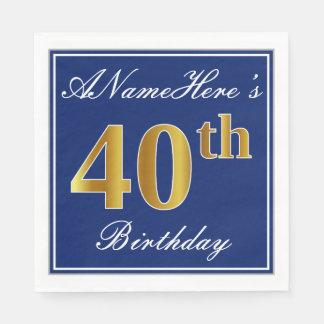 Elegant Blue, Faux Gold 40th Birthday; Custom Name Paper Napkins