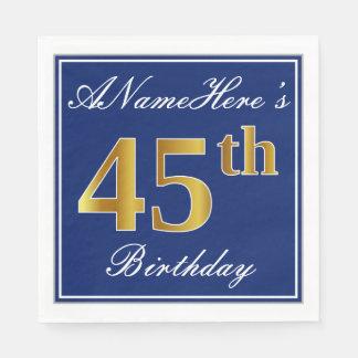 Elegant Blue, Faux Gold 45th Birthday; Custom Name Napkin