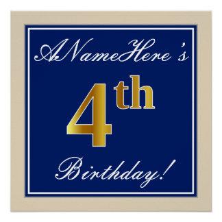 Elegant, Blue, Faux Gold 4th Birthday; Custom Name Poster
