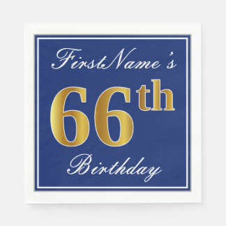 Elegant Blue, Faux Gold 66th Birthday; Custom Name Paper Napkin