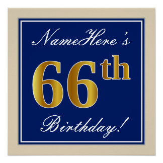 Elegant, Blue, Faux Gold 66th Birthday + Name Poster
