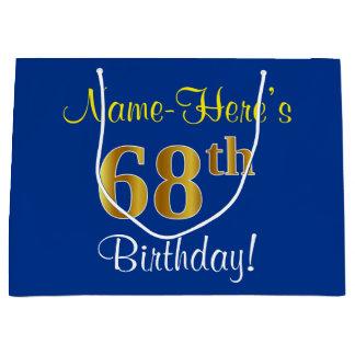 Elegant, Blue, Faux Gold 68th Birthday + Name Large Gift Bag