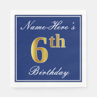 Elegant Blue, Faux Gold 6th Birthday + Custom Name Paper Napkin
