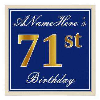 Elegant, Blue, Faux Gold 71st Birthday + Name Card