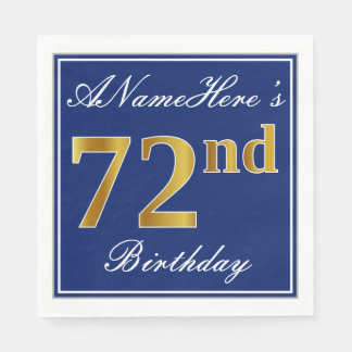 Elegant Blue, Faux Gold 72nd Birthday; Custom Name Paper Napkins
