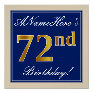Elegant, Blue, Faux Gold 72nd Birthday + Name Poster