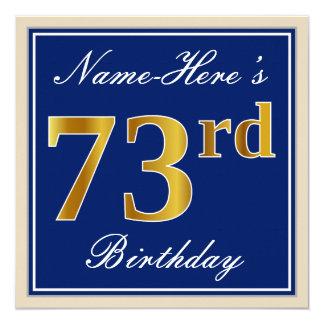 Elegant, Blue, Faux Gold 73rd Birthday + Name Card