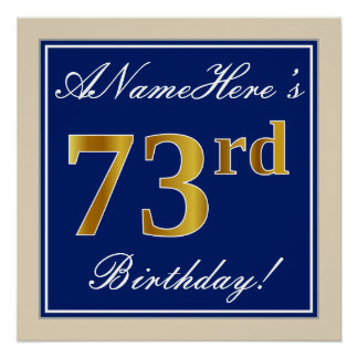 Elegant, Blue, Faux Gold 73rd Birthday + Name Poster