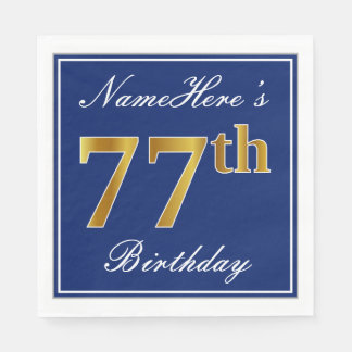 Elegant Blue, Faux Gold 77th Birthday; Custom Name Disposable Napkin