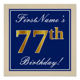 Elegant, Blue, Faux Gold 77th Birthday + Name Poster