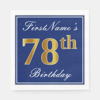 Elegant Blue, Faux Gold 78th Birthday; Custom Name Paper Napkins