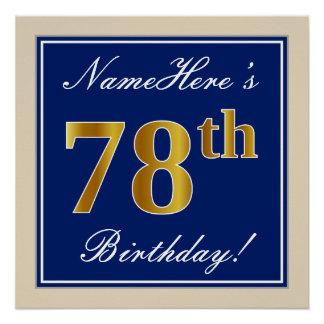 Elegant, Blue, Faux Gold 78th Birthday + Name Poster