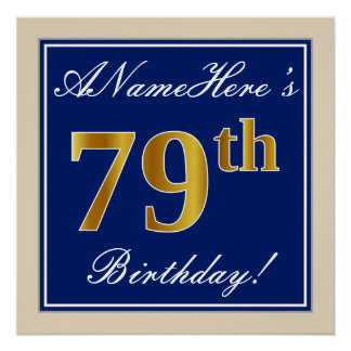 Elegant, Blue, Faux Gold 79th Birthday + Name Poster