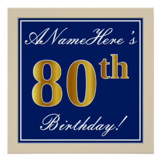 Elegant, Blue, Faux Gold 80th Birthday + Name Poster