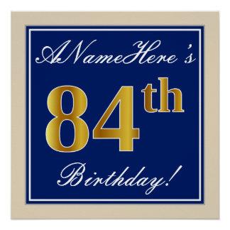 Elegant, Blue, Faux Gold 84th Birthday + Name Poster