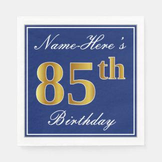 Elegant Blue, Faux Gold 85th Birthday; Custom Name Paper Napkins