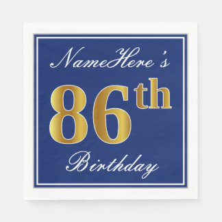 Elegant Blue, Faux Gold 86th Birthday; Custom Name Paper Napkins
