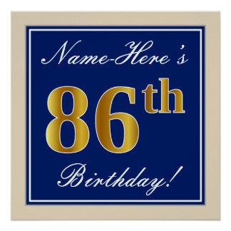 Elegant, Blue, Faux Gold 86th Birthday + Name Poster