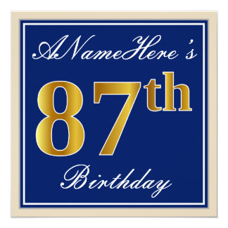Elegant, Blue, Faux Gold 87th Birthday + Name Card