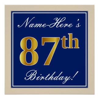 Elegant, Blue, Faux Gold 87th Birthday + Name Poster