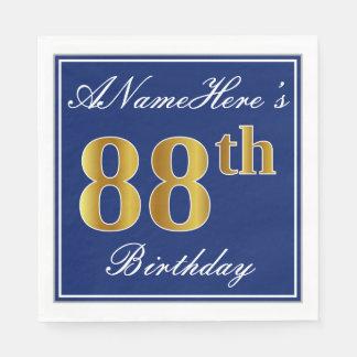Elegant Blue, Faux Gold 88th Birthday; Custom Name Paper Napkins