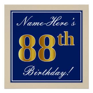 Elegant, Blue, Faux Gold 88th Birthday + Name Poster