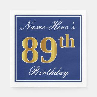 Elegant Blue, Faux Gold 89th Birthday; Custom Name Paper Napkins