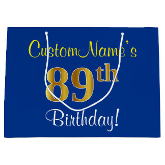 Elegant, Blue, Faux Gold 89th Birthday + Name Large Gift Bag