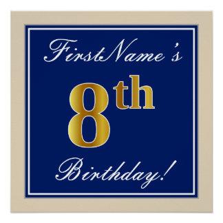 Elegant, Blue, Faux Gold 8th Birthday; Custom Name Poster
