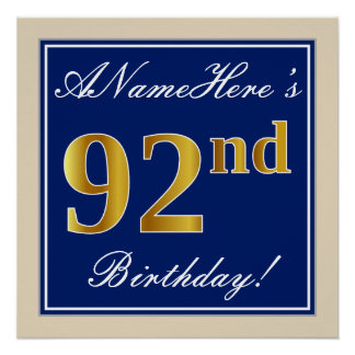 Elegant, Blue, Faux Gold 92nd Birthday + Name Poster