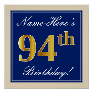 Elegant, Blue, Faux Gold 94th Birthday + Name Poster