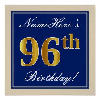 Elegant, Blue, Faux Gold 96th Birthday + Name Poster