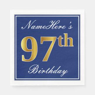 Elegant Blue, Faux Gold 97th Birthday; Custom Name Disposable Napkins