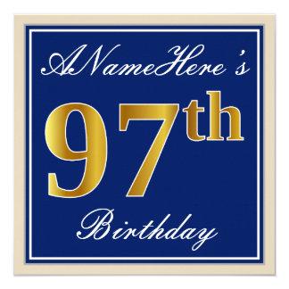 Elegant, Blue, Faux Gold 97th Birthday + Name Card