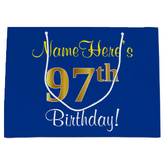 Elegant, Blue, Faux Gold 97th Birthday + Name Large Gift Bag