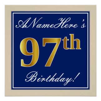 Elegant, Blue, Faux Gold 97th Birthday + Name Poster
