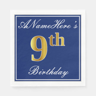 Elegant Blue, Faux Gold 9th Birthday + Custom Name Disposable Napkin