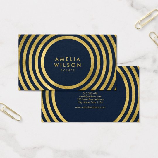 Elegant Blue Faux Gold Round Lines Geometric Event Business Card