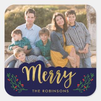 Elegant Blue Festive Foliage Merry Holiday Photo Square Sticker