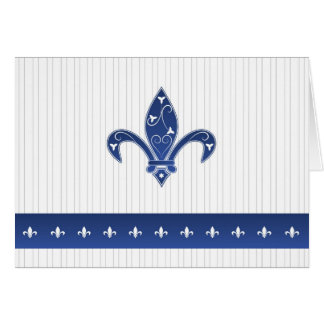 Elegant Blue Fleur de Lis Thank You Card