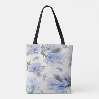 Elegant Blue Floral All Over Print Tote Bag