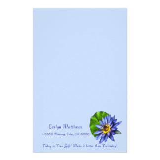 Elegant Blue Floral Lotus Water Lily Flower Customized Stationery